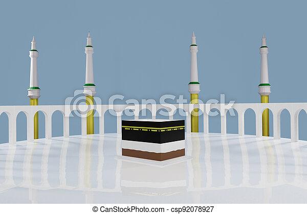 Islamic pilgrimage. Kaaba for hajj steps in Al-Haram Mosque Mecca Saudi Arabia on blue sky - Eid Adha Mubarak. 3d render - csp92078927