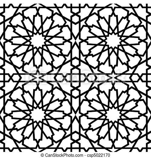Islamic Star Tile BW - csp5022170