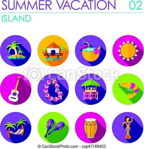 Island Beach Flat Icon Set Summer Vacation
