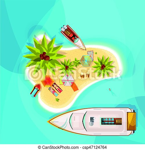 Island Beach Top View Illustration