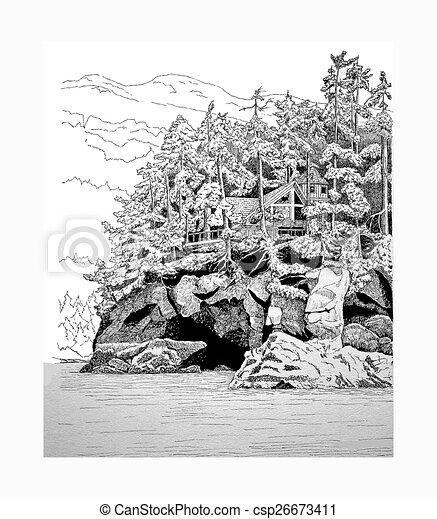 Island Home in Kachemak Bay, AK - csp26673411