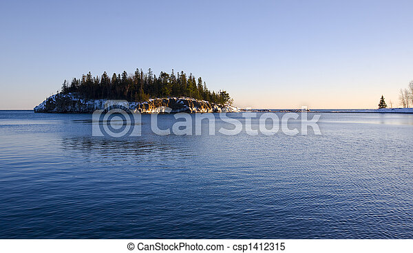 Island in Cold Blue Water - csp1412315