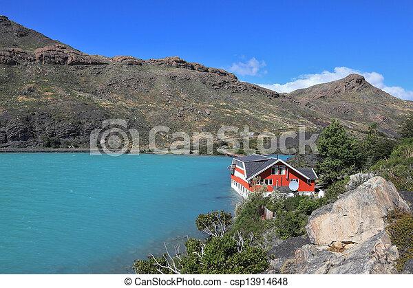 Island Lake Pehoe and hotel