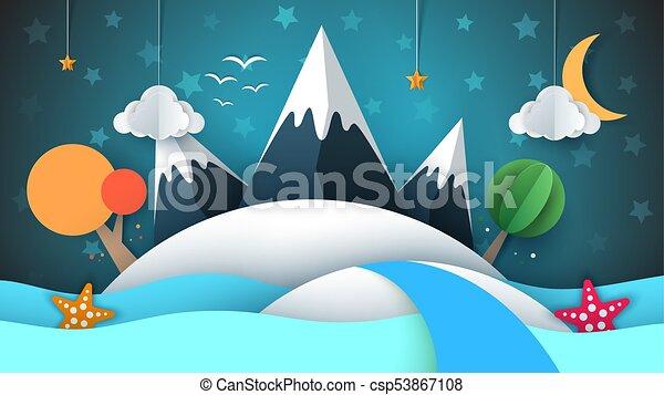 La isla de papel Cartoog. Estrella, montaña, nube, luna, mar, estrella, árbol. - csp53867108