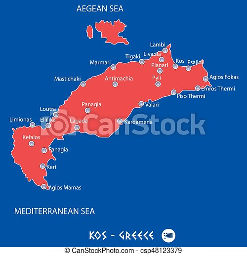Island of kos in greece red map illustration in colorful island of kos in greece red map illustration gumiabroncs Gallery