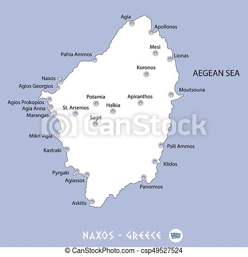 Island Of Naxos In Greece White Map And Blue Background