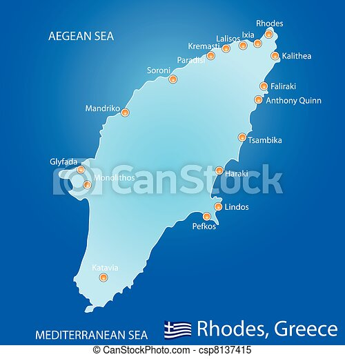 Island of Rhodes in Greece map - csp8137415