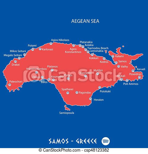 Island Of Samos In Greece Red Map Illustration In Colorful