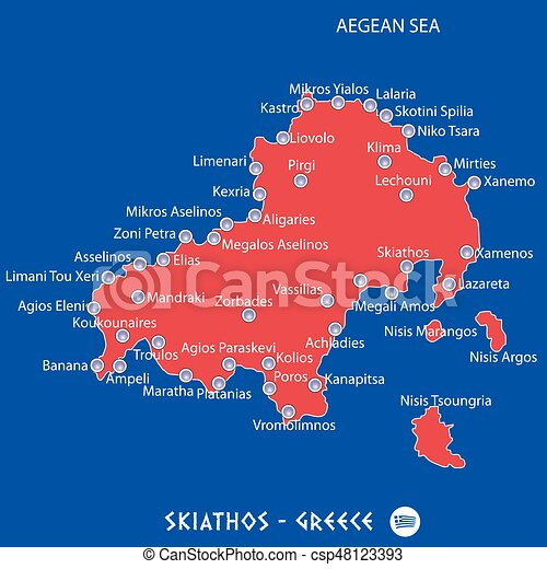 Island of skiathos in greece red map illustration in colorful.