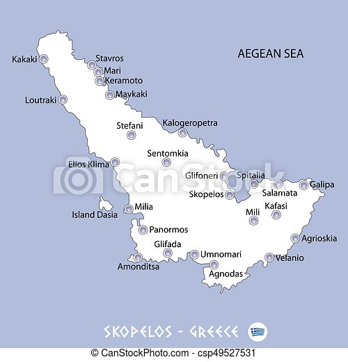 Island of skopelos in greece white map and blue background