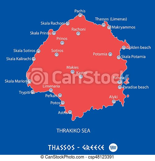 Island of thassos in greece red map illustration in colorful eps
