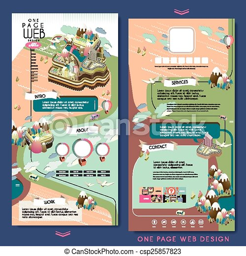 Attractive island scenery one page website design template .