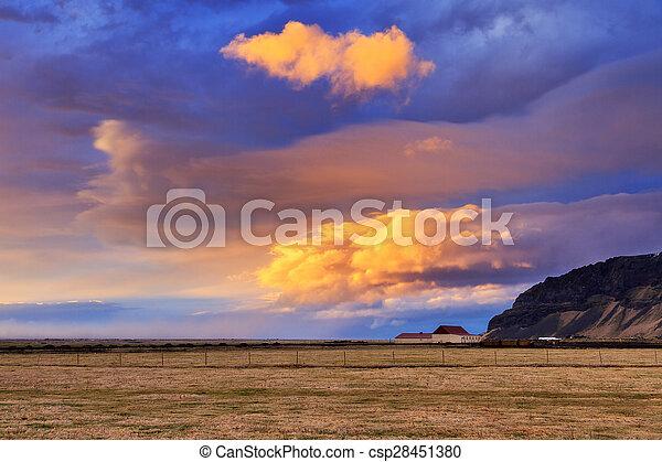 island, sonnenuntergang, landschaftsbild - csp28451380