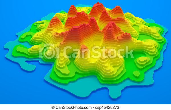 Island Topographic Map 3d Illustration Topographical Map Of An