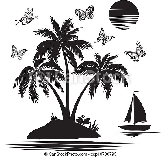Island with palm, ship, butterflies, silhouettes - csp10700795