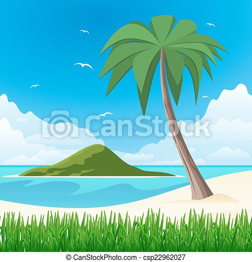 Island with palm tree on tropical white sand  - csp22962027
