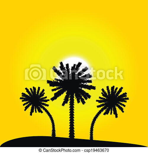 Island with palm trees - csp19463670