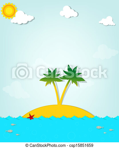 Island with palm trees on the sea - csp15851659