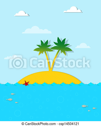 Island with palm trees on the sea - csp14504121