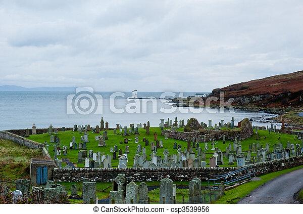 Islay cemetery and lighthouse - csp3539956