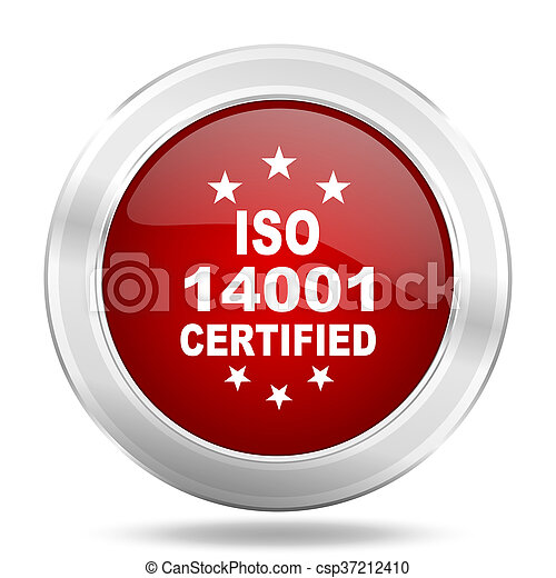 iso 14001 icon, red round glossy metallic button, web and mobile app design illustration - csp37212410