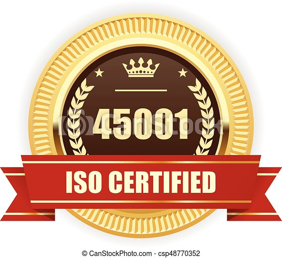 ISO 45001 certified medal - Occupational health and safety - csp48770352