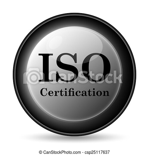 Iso certification icon. internet button on white background ...