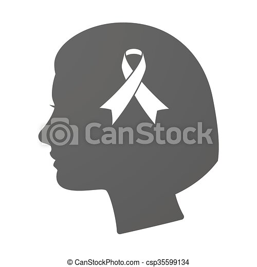 Isoalted female head icon with an awareness ribbon - csp35599134