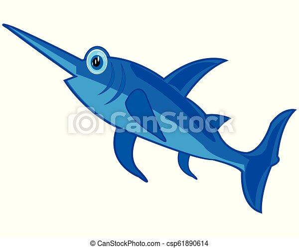 isolé, épée, fish, fond, blanc, dessin animé - csp61890614