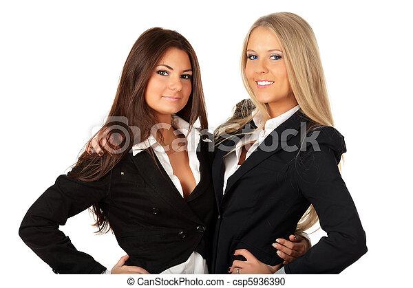 isolé, étreindre, deux, blanc, femmes affaires, collegues - csp5936390