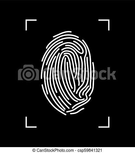 isolé, arrière-plan., vecteur, noir, empreinte doigt, blanc - csp59841321