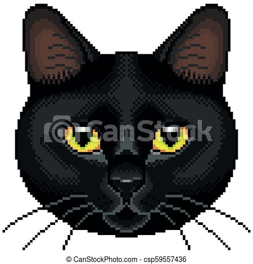 Isolé Chat Vecteur Noir Figure Pixel