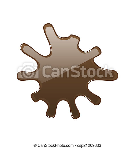 isolé, chocolat, chaud, fond, blanc, tache - csp21209833