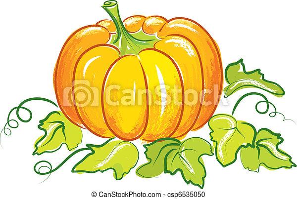 isolé, fruit, vecteur, fond, légume, blanc, citrouille - csp6535050