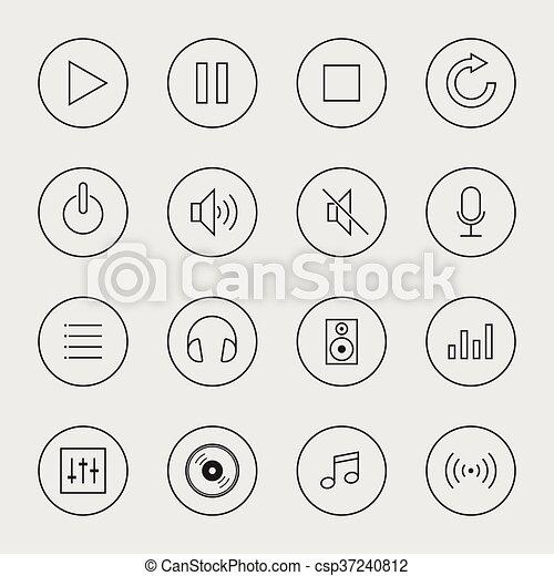 isolé, illustration, vecteur, collection musique, icône - csp37240812