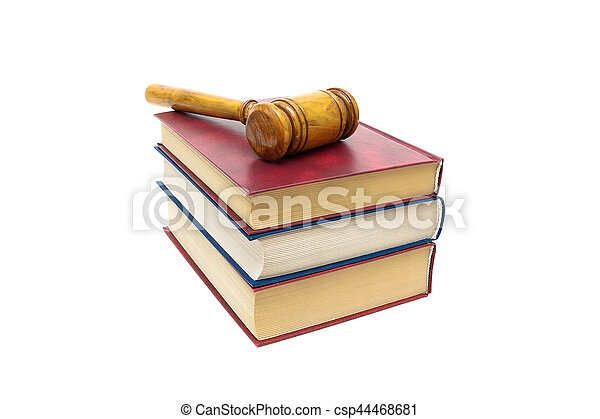 isolé, juge, livres, fond, marteau, blanc - csp44468681