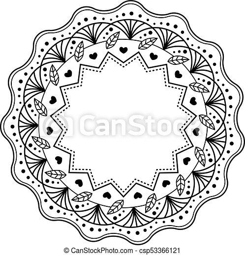 Isole Modele Mandala Arriere Plan Noir Floral Oriental Blanc Mandala Cercle Vecteur Islam Elements Text Canstock