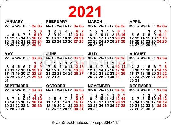 Isolé, poche, grille, 2021, gabarit, calendrier, blanc. Isolé