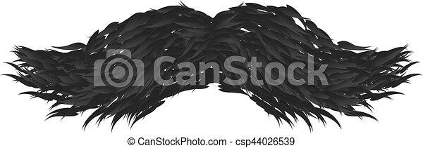 isolé, vecteur, arrière-plan noir, blanc, moustache - csp44026539