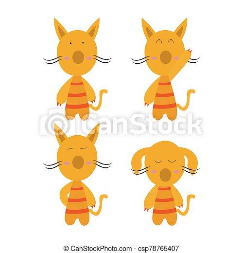 isolé, vecteur, dessin animé, plat, fond, illustration, fête, character., concept, chat, simple, blanc, animaux - csp78765407