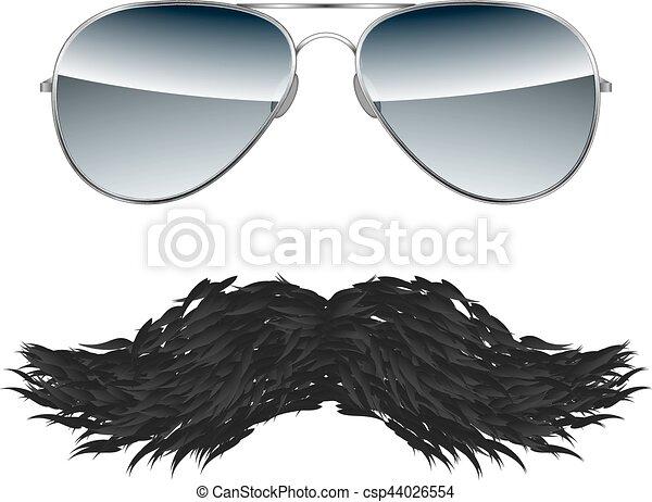 isolé, vecteur, fond, blanc, moustache, lunettes - csp44026554