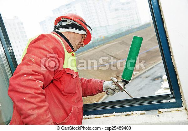 isolação, janelas, quadro, instalação - csp25489400
