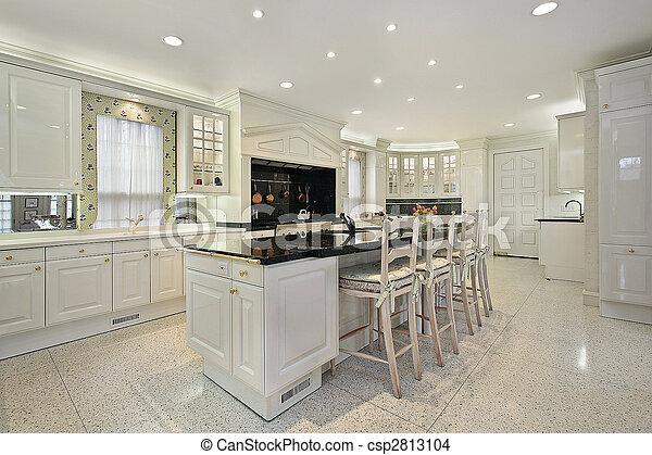 Isola, cima, marmo nero, cucina. Isola, cima, nero, sede lusso ...