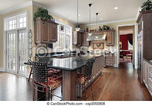 Isola, cucina, marmo nero, elegante. Isola, elegante, nero, sede ...