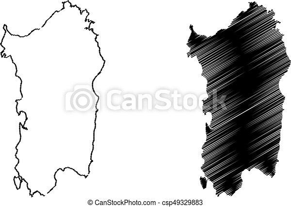 Cartina Sardegna Bianco E Nero.Isola Sardegna Mappa Vettore Mappa Vettore Schizzo Scarabocchio Isola Sardegna Illustrazione Canstock