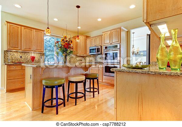 Isola sgabelli grande legno lusso acero cucina