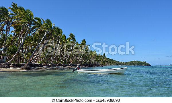 isola, tropicale, pesca, bianco, figi, barca - csp45936090