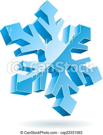 isolado, experiência., vetorial, snowflake branco, 3d - csp23331563