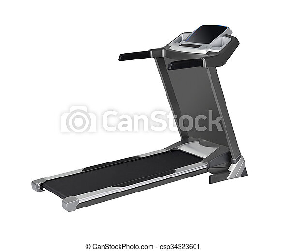 isolado, fundo, treadmill, branca, vista lateral - csp34323601