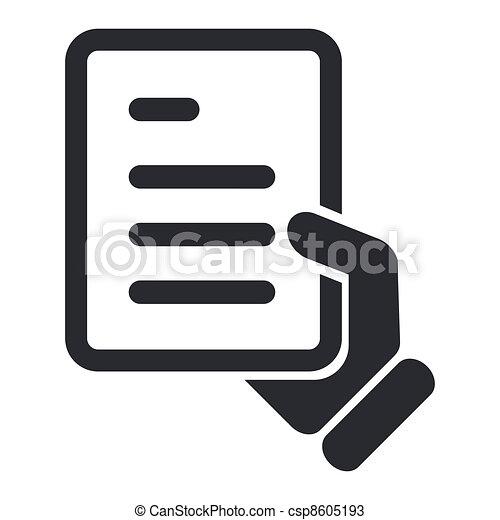 isolado, ilustração, único, vetorial, documento, ícone - csp8605193